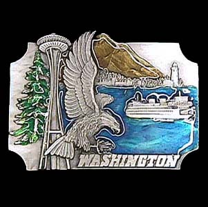 Belt Buckle - Washington Eagle - This finely sculpted and hand enameled belt buckle contains exceptional 3D detailing. Siskiyou's unique buckle designs often become collector's items and are unequaled with the best craftsmanship.