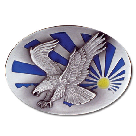 Belt Buckle - Eagle and the Sun  - This finely sculpted and hand enameled belt buckle contains exceptional 3D detailing. Siskiyou's unique buckle designs often become collector's items and are unequaled with the best craftsmanship.