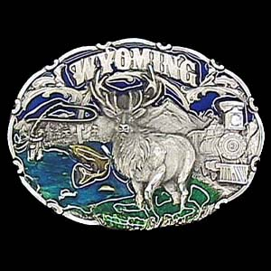 Belt Buckle - Wyoming Elk - This finely sculpted and hand enameled belt buckle contains exceptional 3D detailing. Siskiyou's unique buckle designs often become collector's items and are unequaled with the best craftsmanship.