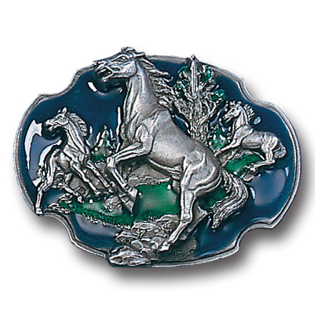 Belt Buckle - Wild Horses  - This finely sculpted and hand enameled belt buckle contains exceptional 3D detailing. Siskiyou's unique buckle designs often become collector's items and are unequaled with the best craftsmanship.