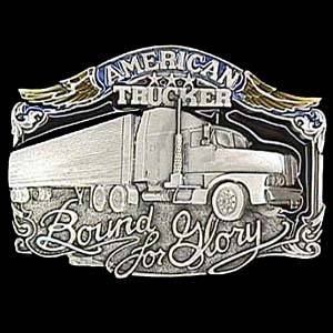 Belt Buckle - American Trucker  - This finely sculpted and hand enameled belt buckle contains exceptional 3D detailing. Siskiyou's unique buckle designs often become collector's items and are unequaled with the best craftsmanship.