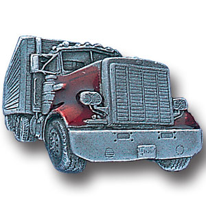 Pin - Long Nose Truck Trucker - Our fully cast and enameled long nose truck Trucker pin features exceptional detail with a hand enameled finish.