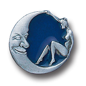 Pin - Girl and Moon - Our fully cast and enameled girl and moon pin features exceptional detail with a hand enameled finish.