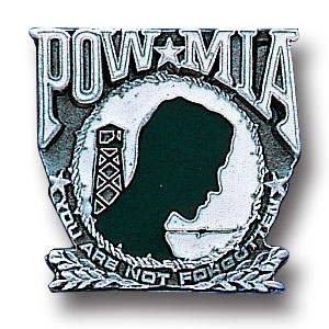 Pin - Pow-Mia - Our fully cast and enameled POW-MIA pin features exceptional detail with a hand enameled finish.
