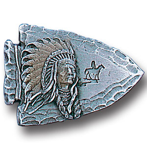Pin - Arrowhead Indian Chief - Our fully cast and enameled arrowhead indian chief pin features exceptional detail with a hand enameled finish.