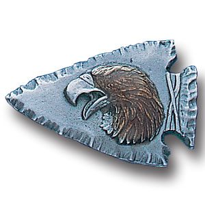 Pin - Arrowhead With Eagle head - Our fully cast and enameled arrowhead with eagle head pin features exceptional detail with a hand enameled finish.