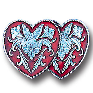 Pin - Double Heart - Our fully cast and enameled double heart pin features exceptional detail with a hand enameled finish.