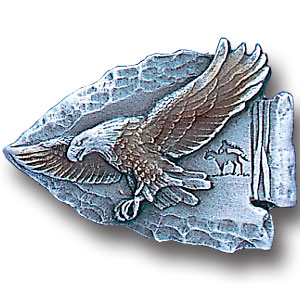 Pin - Eagle on Arrowhead - Our fully cast and enameled eagle on arrowhead pin features exceptional detail with a hand enameled finish.