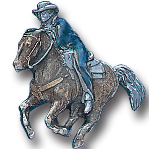 Pin - Cowboy on Running Horse - Our fully cast and enameled cowboy on running horse pin features exceptional detail with a hand enameled finish.