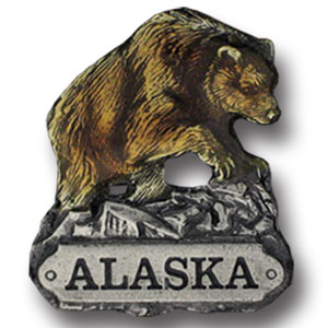 Pin - Alaska Bear - Our fully cast and enameled Alaska pin features exceptional detail with a hand enameled finish.