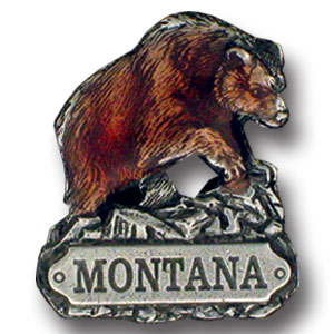 Pin - Montana Bear - Our fully cast and enameled Montana pin features exceptional detail with a hand enameled finish.