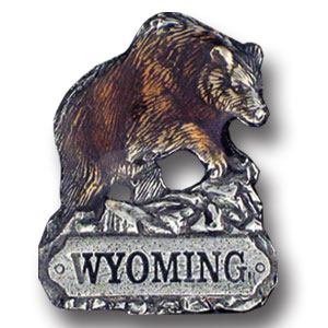 Pin - Wyoming Bear - Our fully cast and enameled Wyoming pin features exceptional detail with a hand enameled finish.