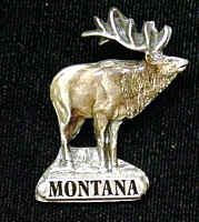Pin - Montana Elk - Our fully cast and enameled Montana pin features exceptional detail with a hand enameled finish.