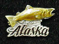 Pin - Alaska Salmon - Our fully cast and enameled Alaska pin features exceptional detail with a hand enameled finish.