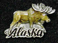 Pin - Alaska Moose - Our fully cast and enameled Alaska pin features exceptional detail with a hand enameled finish.