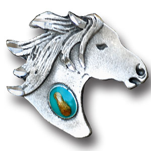 Pin - Horse head and Stone - Our fully cast and enameled horse head and stone pin features exceptional detail with a hand enameled finish.