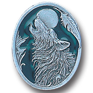 Pin - Howling Wolf - Our fully cast and enameled wolf pin features exceptional detail with a hand enameled finish.