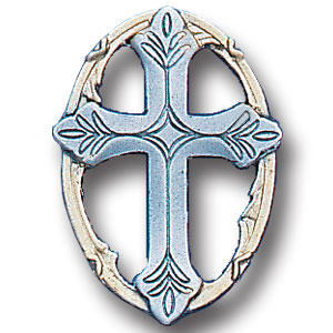 Pin - Cross in Oval - Our fully cast and enameled cross in oval pin features exceptional detail with a hand enameled finish.