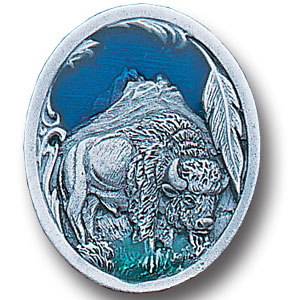 Pin - Bison and Feather - Our fully cast and enameled bison pin features exceptional detail with a hand enameled finish.