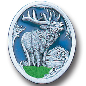 Pin - Elk with Scroll - Our fully cast and enameled elk pin features exceptional detail with a hand enameled finish.