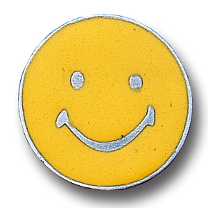 Pin - Happy Face - Our fully cast and enameled happy face pin features exceptional detail with a hand enameled finish.