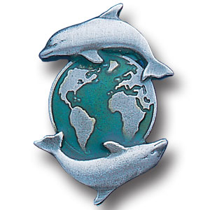 Pin - Dolphin and Earth - Our fully cast and enameled dolphin and earth pin features exceptional detail with a hand enameled finish.