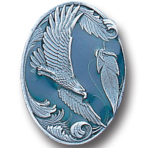Pin - Eagle and Feather - Our fully cast and enameled eagle pin features exceptional detail with a hand enameled finish.