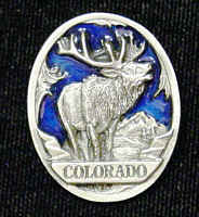 Pin - Colorado Elk - Our fully cast and enameled Colorado pin features exceptional detail with a hand enameled finish.