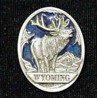 Pin - Wyoming Elk - Our fully cast and enameled Wyoming pin features exceptional detail with a hand enameled finish.
