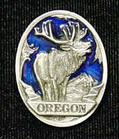 Pin - Oregon Elk - Our fully cast and enameled Oregon pin features exceptional detail with a hand enameled finish.