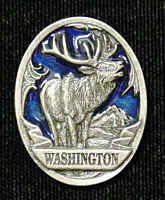 Pin - Washington Elk - Our fully cast and enameled Washington pin features exceptional detail with a hand enameled finish.