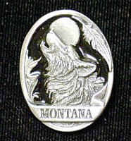 Pin - Montana Wolf - Our fully cast and enameled Montana pin features exceptional detail with a hand enameled finish.