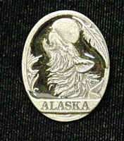 Pin - Alaska Wolf - Our fully cast and enameled Alaska pin features exceptional detail with a hand enameled finish.