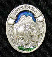 Pin - Montana Bison - Our fully cast and enameled Montana pin features exceptional detail with a hand enameled finish.