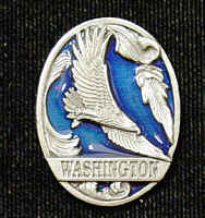 Pin - Washington Eagle - Our fully cast and enameled Washington pin features exceptional detail with a hand enameled finish.