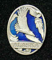 Pin - Alaska Eagle - Our fully cast and enameled Alaska pin features exceptional detail with a hand enameled finish.