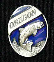 Pin - Oregon Trout - Our fully cast and enameled Oregon pin features exceptional detail with a hand enameled finish.