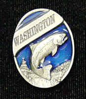 Pin - Washington Trout - Our fully cast and enameled Washington pin features exceptional detail with a hand enameled finish.