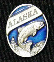 Pin - Alaska Trout - Our fully cast and enameled Alaska pin features exceptional detail with a hand enameled finish.