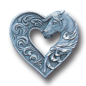 Pin - Horse & Heart - Our fully cast and enameled horse & heart pin features exceptional detail with a hand enameled finish.