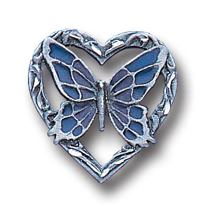 Pin - Butterfly & Heart - Our fully cast and enameled butterfly & heart pin features exceptional detail with a hand enameled finish.