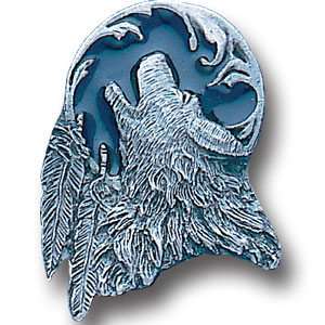 Pin - Wolf Head and Feather - Our fully cast and enameled wolf head and feather pin features exceptional detail with a hand enameled finish.