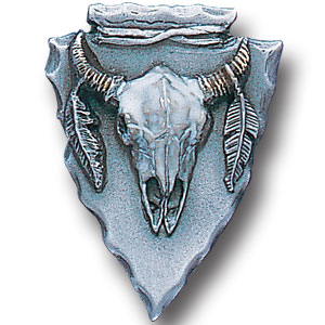 Pin - Arrowhead Buffalo Skull - Our fully cast and enameled arrowhead buffalo skull pin features exceptional detail with a hand enameled finish.