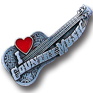 Pin - I Love Country Music - Our fully cast and enameled country music pin features exceptional detail with a hand enameled finish.