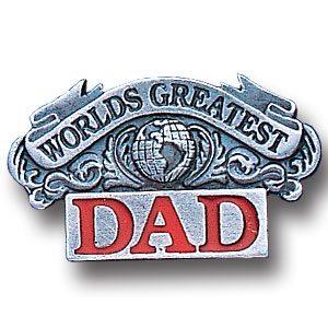 Pin - Worlds Greatest Dad - Our fully cast and enameled worlds greatest dad pin features exceptional detail with a hand enameled finish.