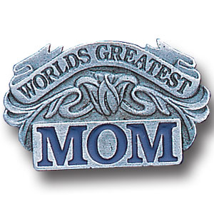 Pin - Worlds Greatest Mom - Our fully cast and enameled worlds greatest mom pin features exceptional detail with a hand enameled finish.