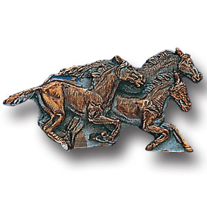 Pin - Running Horses - Our fully cast and enameled horse pin features exceptional detail with a hand enameled finish.