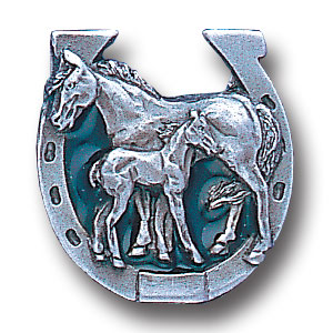 Pin - Mare with Foal in Horseshoe - Our fully cast and enameled horse pin features exceptional detail with a hand enameled finish.
