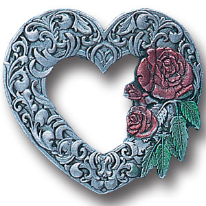 Pin - Scroll Heart - Our fully cast and enameled heart pin features exceptional detail with a hand enameled finish.