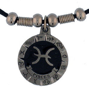 "Zodiac Necklace - Pisces  - Siskiyou's zodiac pendants are on a beaded 24"" adjustable leather cord with a detailed pendant. Check out the entire line of Zodiac sign  necklaces!"